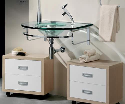 Lavabo con encimera de cristal sanitarios sanicril - Encimera lavabo cristal ...