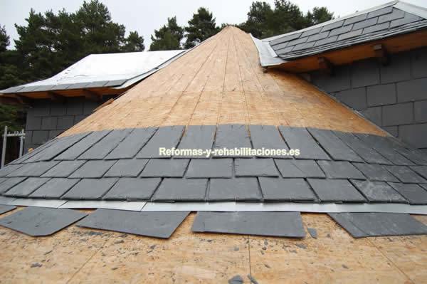 Instalaci n de tejas de pizarra tejados de pizarra - Cubiertas de pizarra en madrid ...