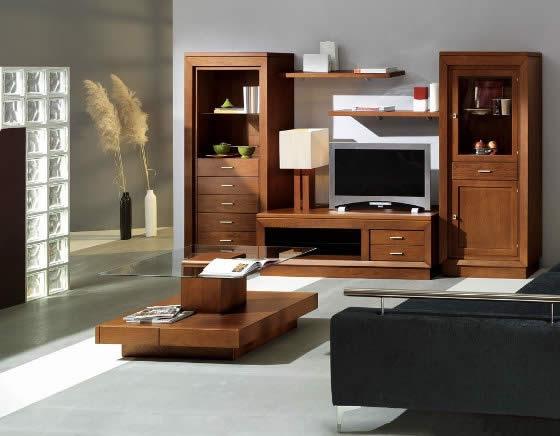 Muebles en el salon mobiliario hogar arte nogal for Muebles de salon rusticos modernos